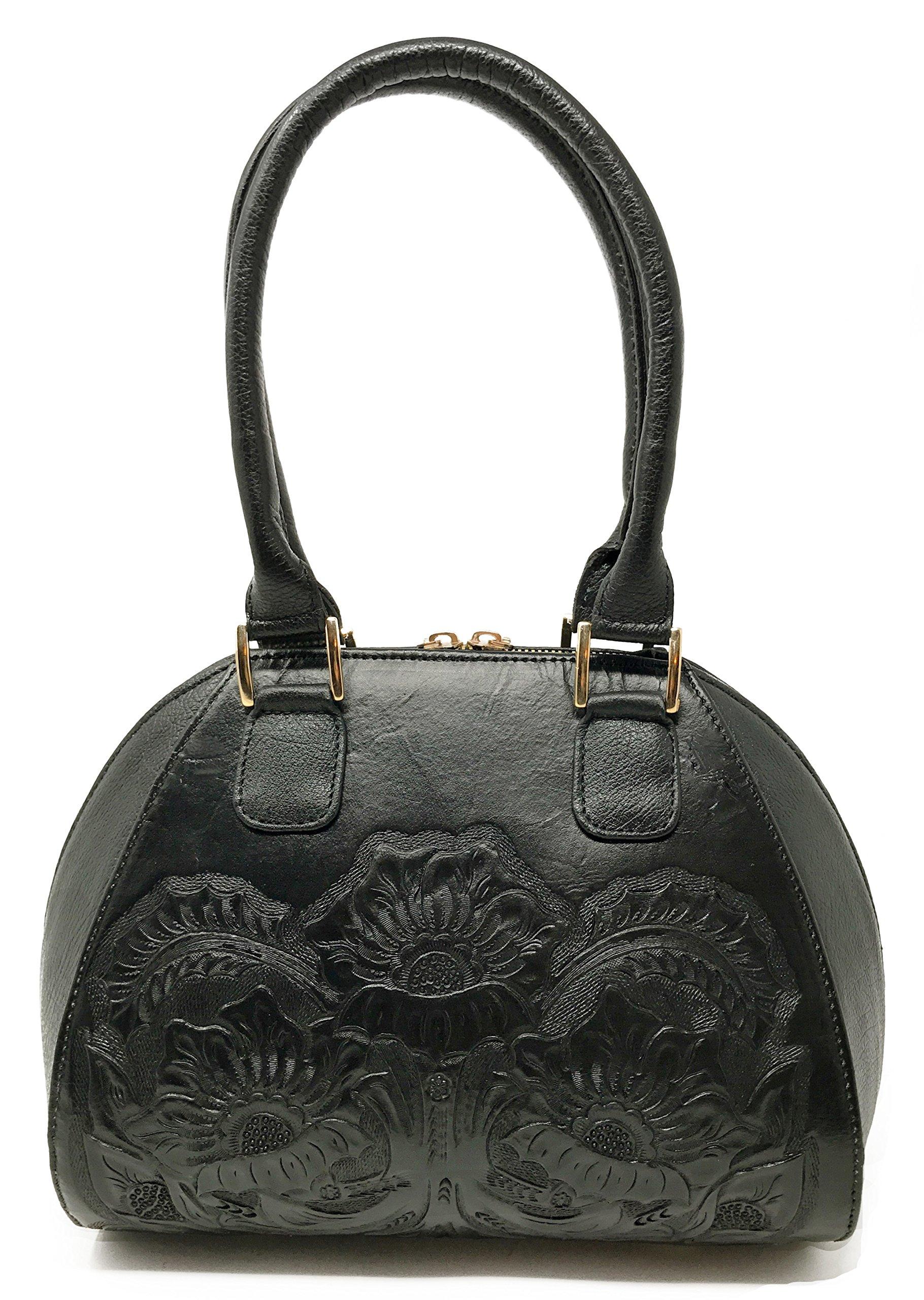 Alexandria Vintage Floral Artisan Leather Handmade Top Handle CrossBody Handbag Designer Gift for Women (Obsidian)