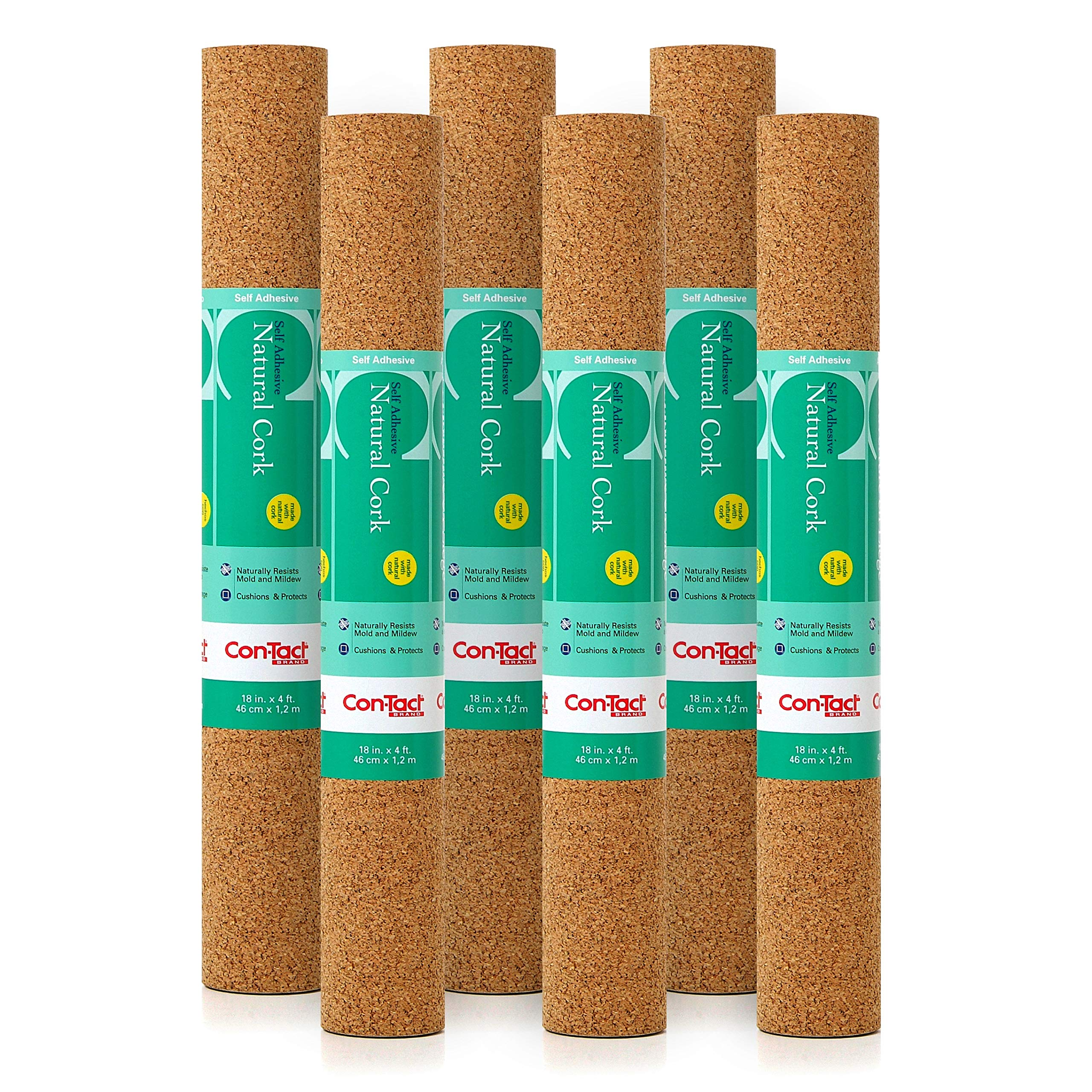 Con-Tact Adhesive Natural Cork, 18'' x 4', Pack of 6 Shelf and Drawer Liner, 18'' x4, 6 Piece by Con-Tact