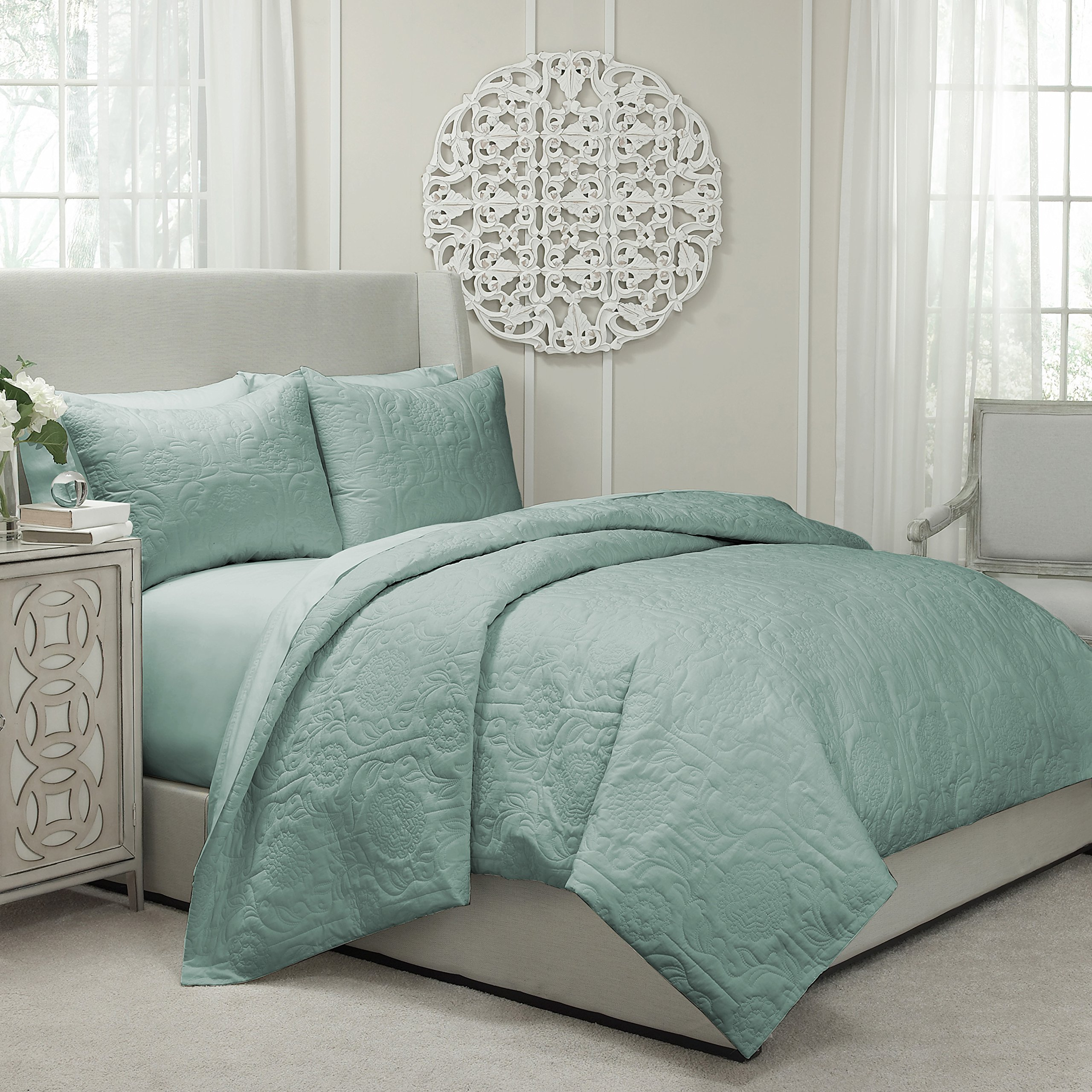 Blissliving Home Vue Barcelona Quilted Coverlet and Duvet Ensemble, Spa, Queen
