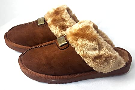 Ladies Womens Flat Fur Fluffy Slippers Comfy Warm Non Slip Hard Sole Shoes