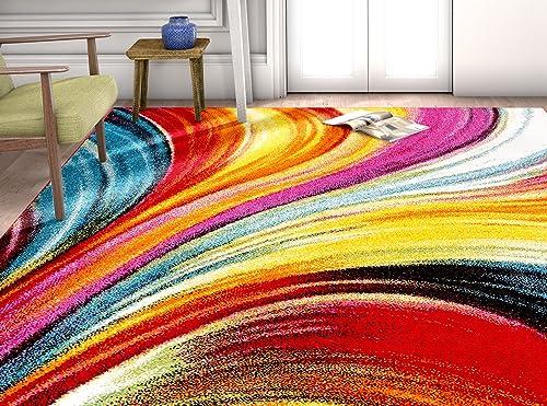 HomeWay Wavy 7 10 x 9 10 Vivid Rainbow-Colored Soft Rug Mid-Century Modern Velvety Bright Soft Area Rug