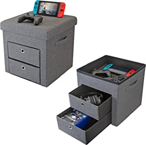Simplify Grey, 2 Drawer Collapsible Storage Ottoman, Perfect for Gaming, Toys, Magazines, Linens, Blankets & More
