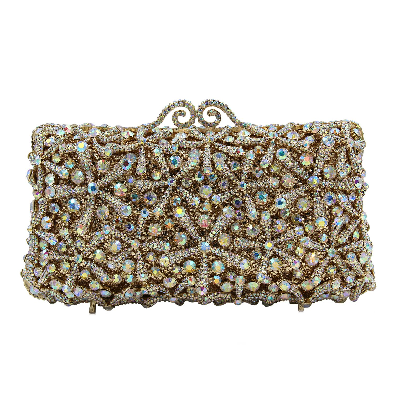 Flada Rhinestones Evening Bag Wedding Party Handbag Clutch Purse for Womens A-Gold by Flada