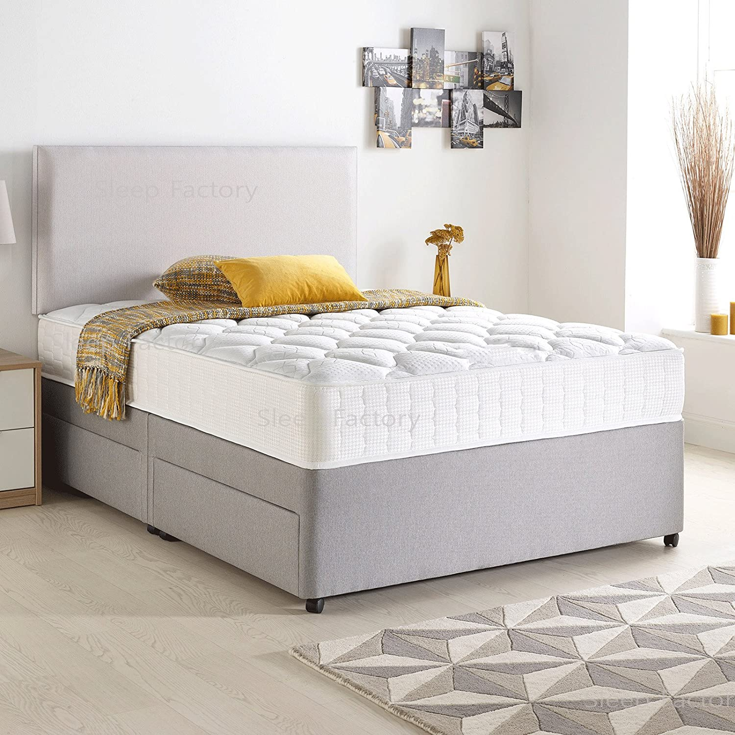 Divan Bed Set with Quilted Ortho Mattress,Headboard and 2 free drawers, Silver Suede, 3FT Single (90 cm x 190 cm) Sleep Factory Limited
