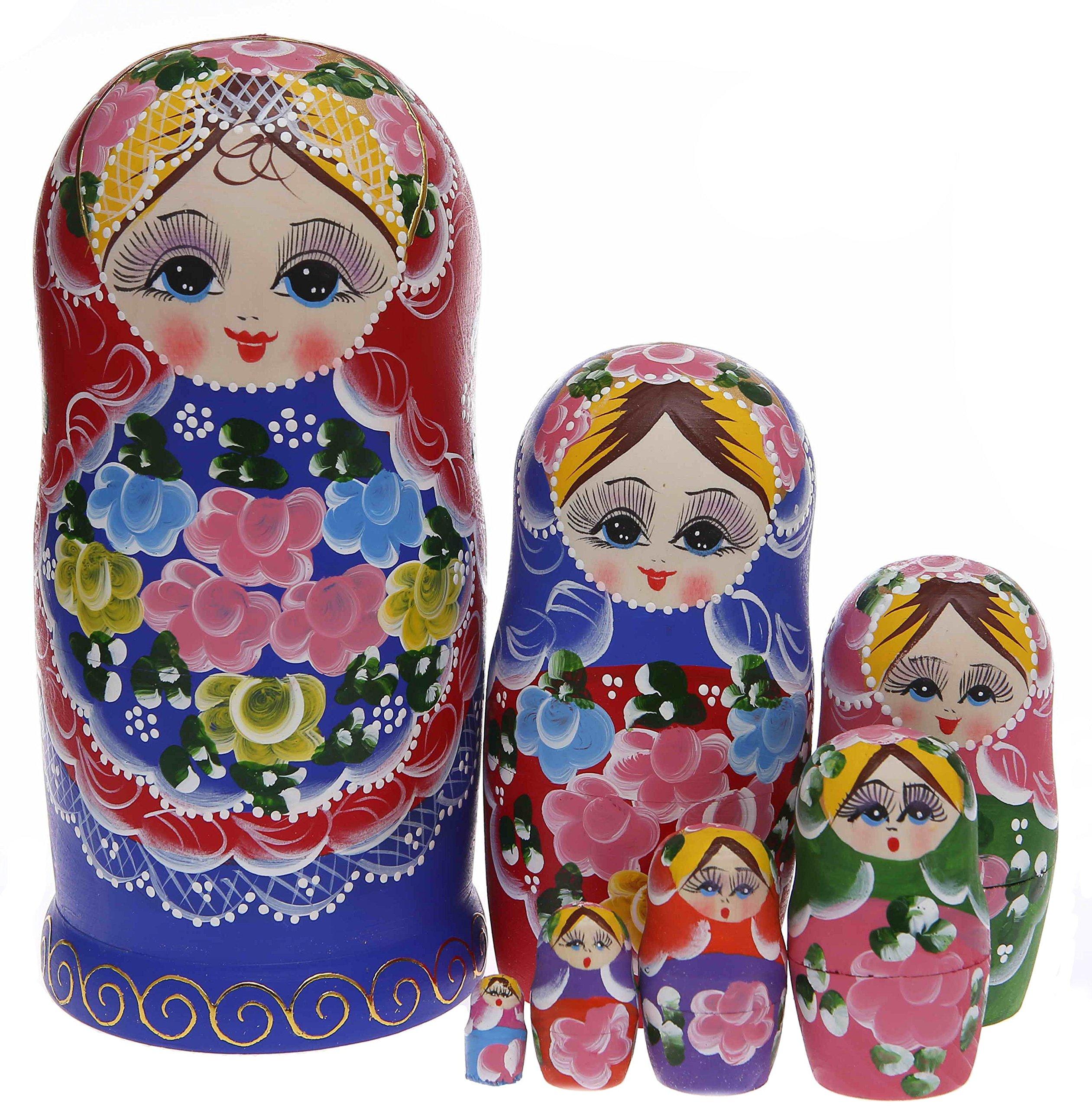 Moonmo 7pcs Beautiful Handmade Wooden Russia Nesting Dolls Gift Russian Nesting Wishing Dolls Beautiful Flower Matryoshka Traditional.