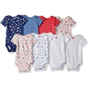 Carter's Baby Girls' 8 Pack Short Sleeve Bodysuits, Floral dot, 3 Months