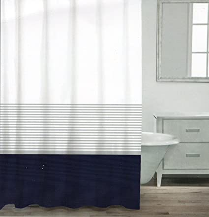 Caro Home 100 Cotton Shower Curtain Wide Stripe Fabric Striped White Silver Navy