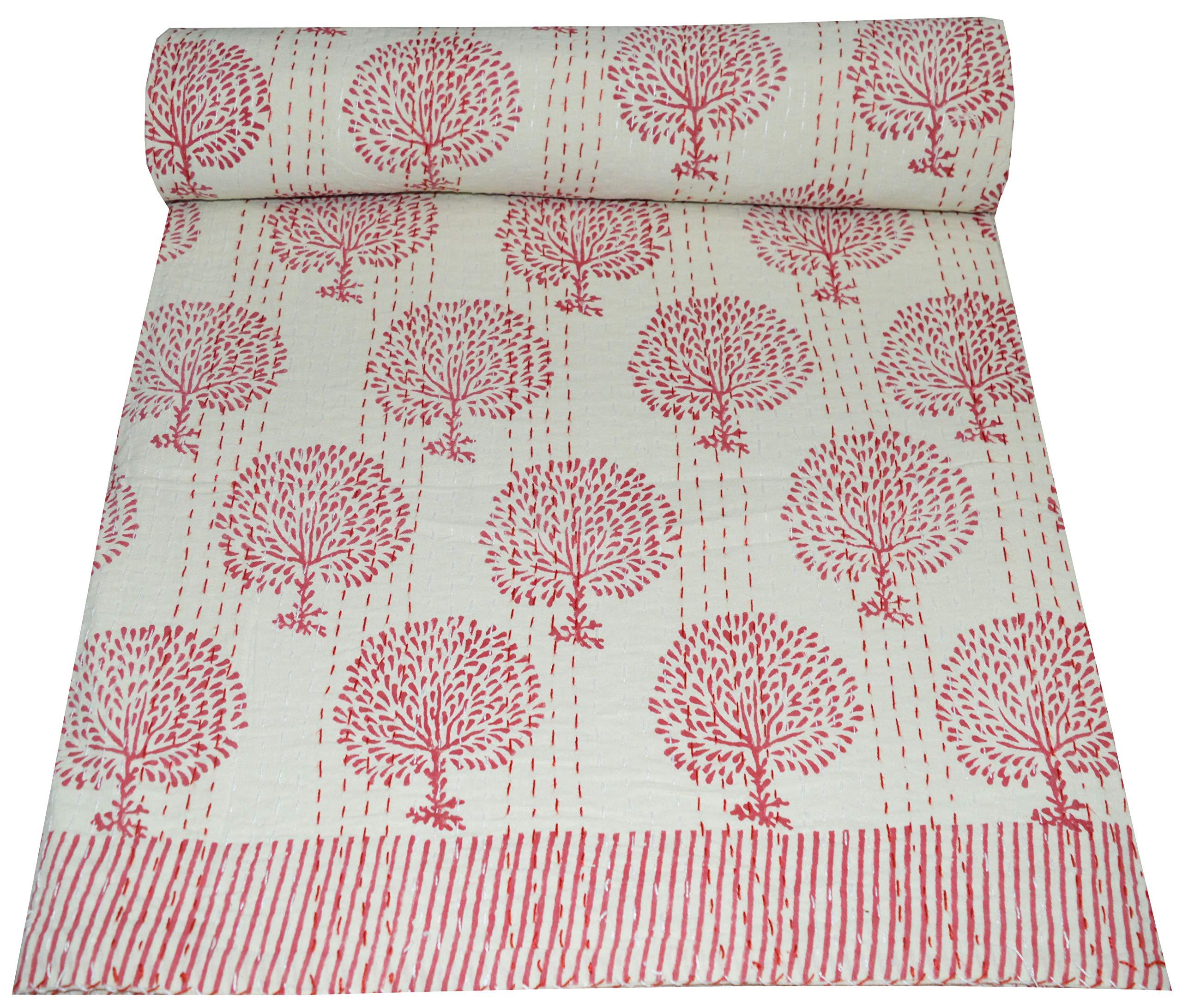 Kantha Quilt Vintage Indian Art  hand block print Bedspread Cotton Bed-cover Blanket Throw Patchwork Handmade Kantha Quilt Coverlet