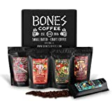 Bones Coffee World Tour Sample Pack, Ground Coffee Beans Sampler Gift Box Set, Pack of 5 Assorted Single-Origin Coffee Grounds (Ground)