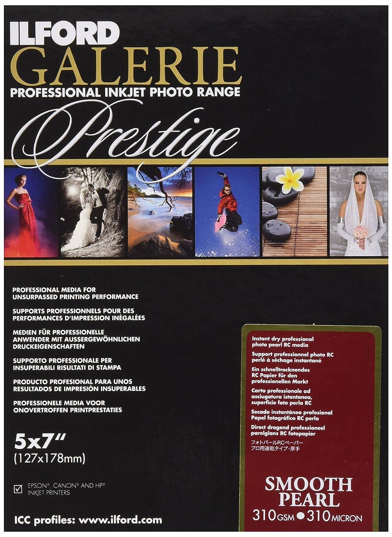 Ilford Galerie Prestige Smooth Pearl - Carta fotografica, formato 13 x 18 cm, 310 g/, 100 fogli, superficie effetto perlato, con penna Ilford in omaggio 2001744.0