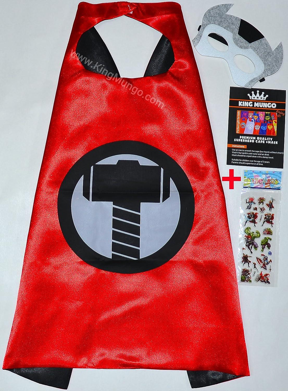 Thor Cape y máscara + Pegatinas gratis. - para niños satén Capes Disfraces con fieltro Máscaras Super Héroes verkleidung Super Hero Abrigos, Kim para niños ...