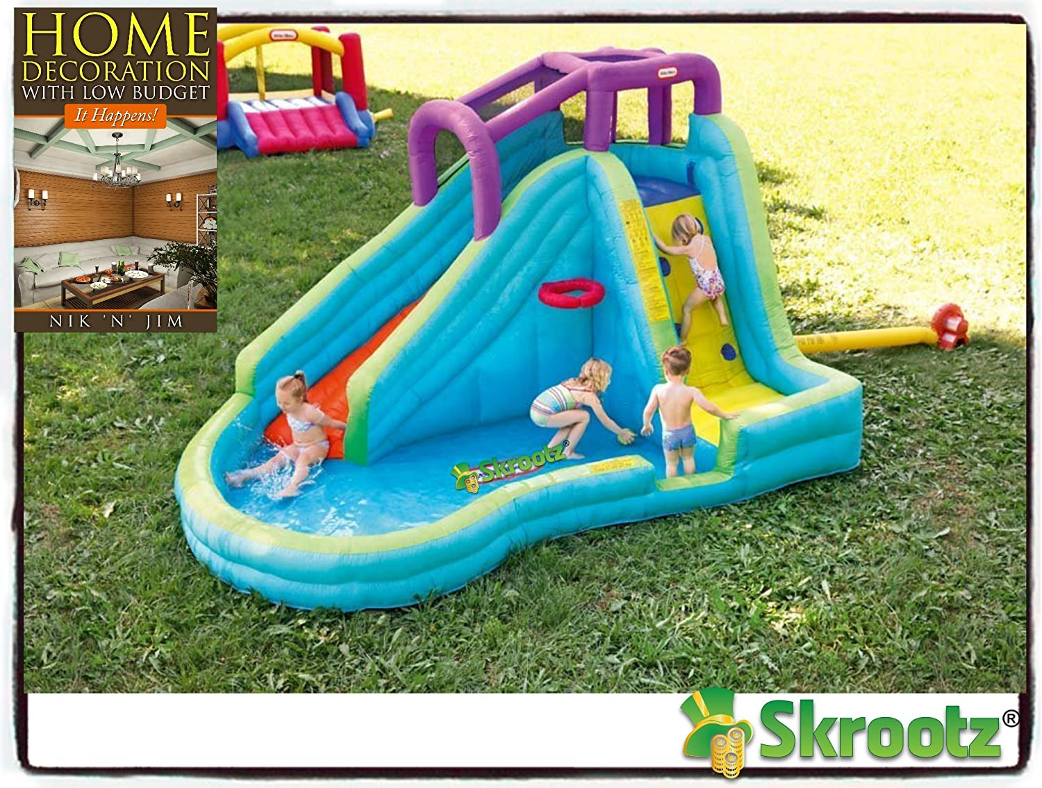 Amazon Com Inflatable Bounce House Jump Splash Adventure Water Slide Bouncer Pool Waterslide New Kids Home Banzai Outdoor Slip Fun Backyard Park Commercial Toys Pools Guarantee Toys Games