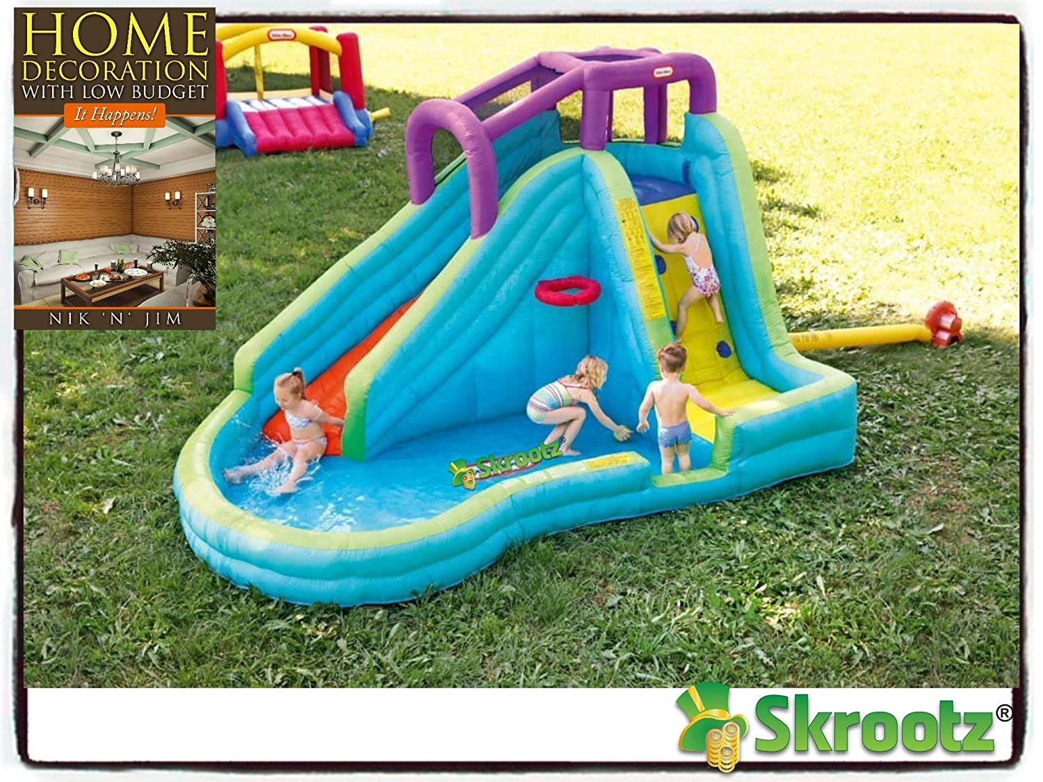 amazon com inflatable bounce house jump splash adventure water