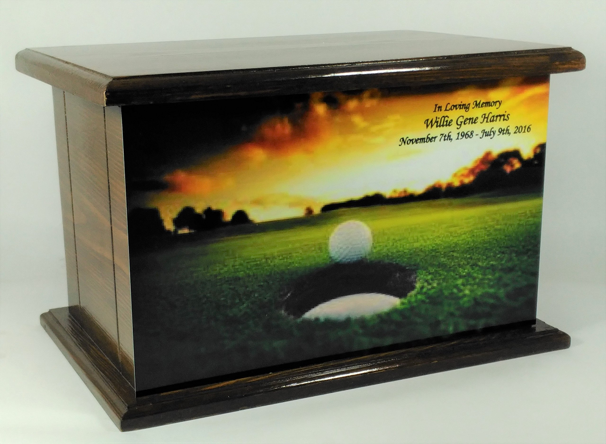 Cremation Urn, Wood Funeral Urn, Golf Wooden Urn with Personalized Engraving, Golfing