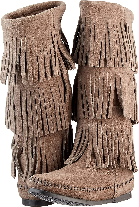 36-37 M EU // 6 B M US, Grey Minnetonka Womens 3-Layer Fringe Boot