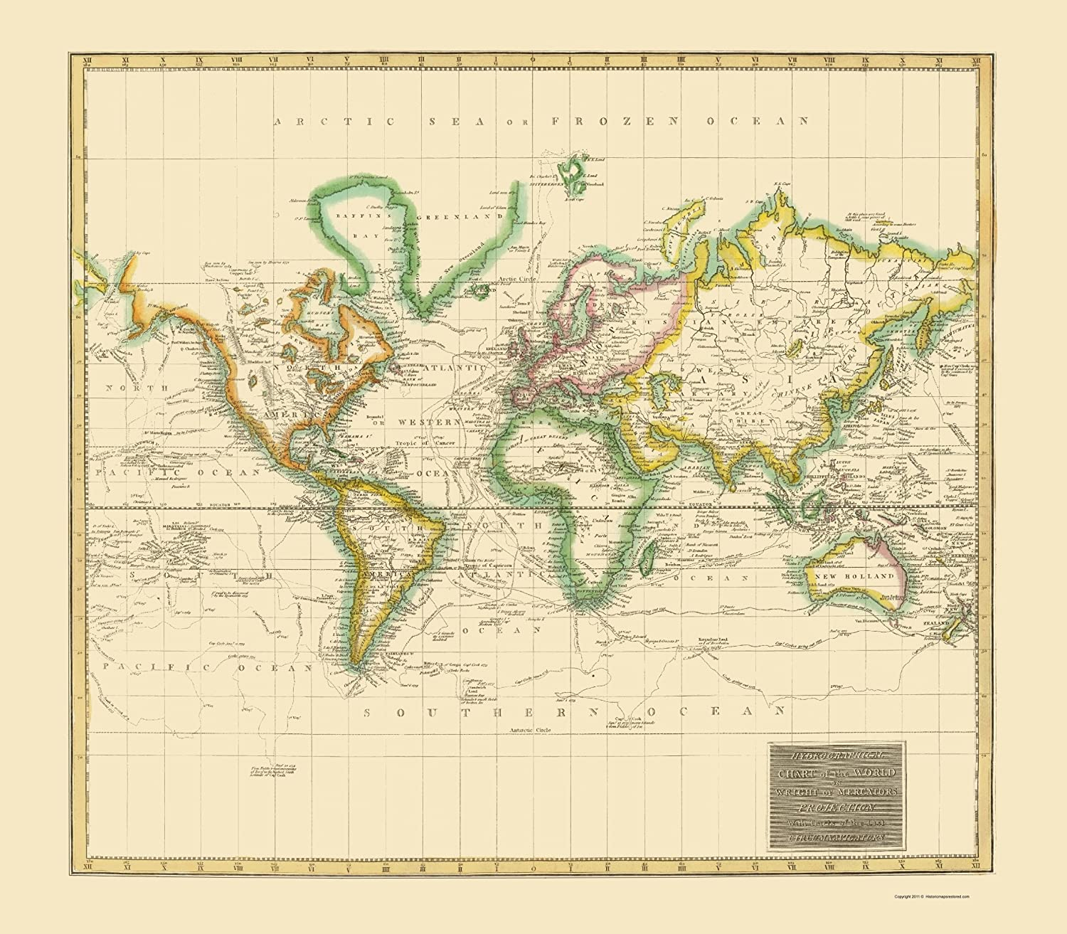 Amazon Com Old World Map World Hydrographical Thomson 1814 23