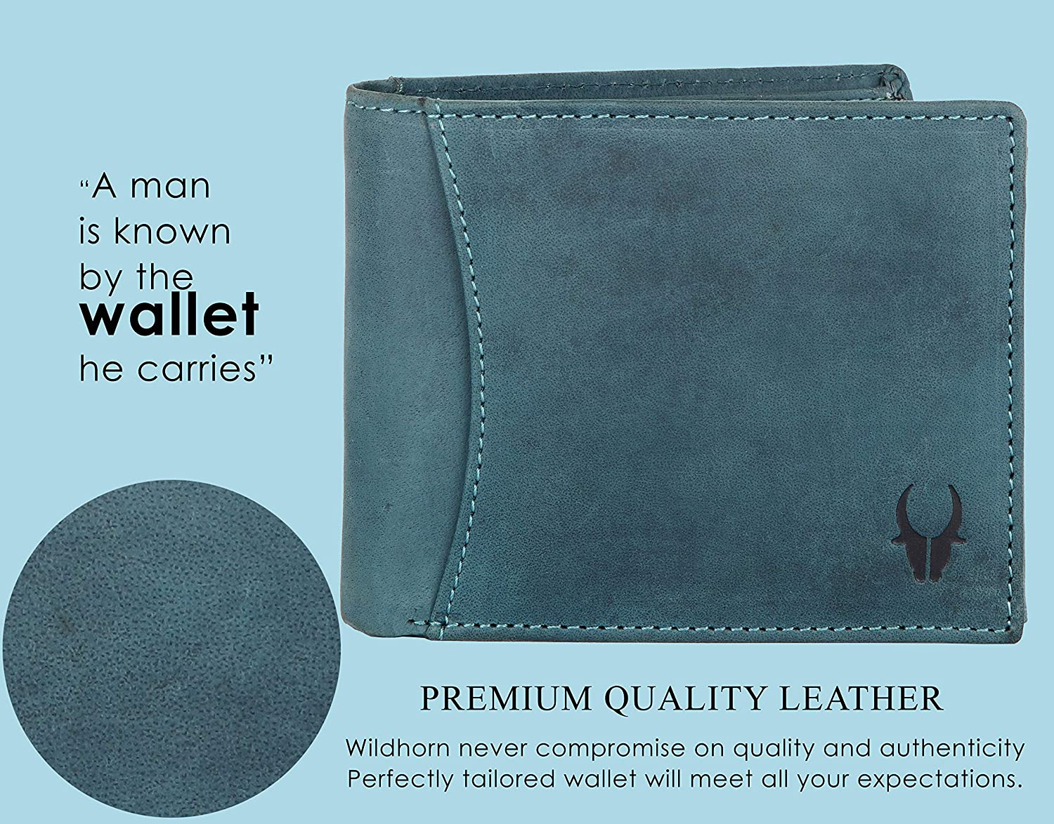 60e5b8dab WildHorn® RFID Protected 100% Genuine High Quality Mens Leather Wallet  (Blue Hunter)  Amazon.in  Bags