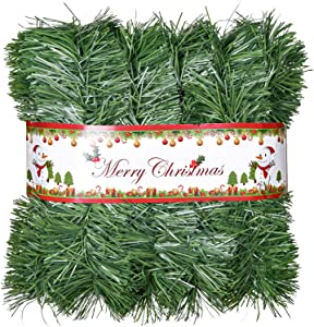 DearHouse 16.4 Foot Christmas Garland, Artificial Pine Garland Holiday Decor for Outdoor or Indoor Home Garden Artificial Green Greenery, or Fireplaces Holiday Party Decorations