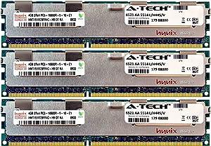 A-Tech Hynix 12GB Kit 3X 4GB PC3-10600 1.5V for Dell Precision Workstation T5600 20D6F T7500 SNPJDF1MC/16G T7600 A6996807 T5500 A2626071 A2626092 A3721494 A3721500 A3721505 Memory RAM
