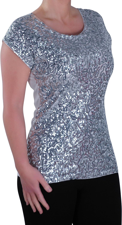 Damen Sequin mit rundem Halsausschnitt mit Flugelarmeln Bluse Frauen Tunika Eye Catch