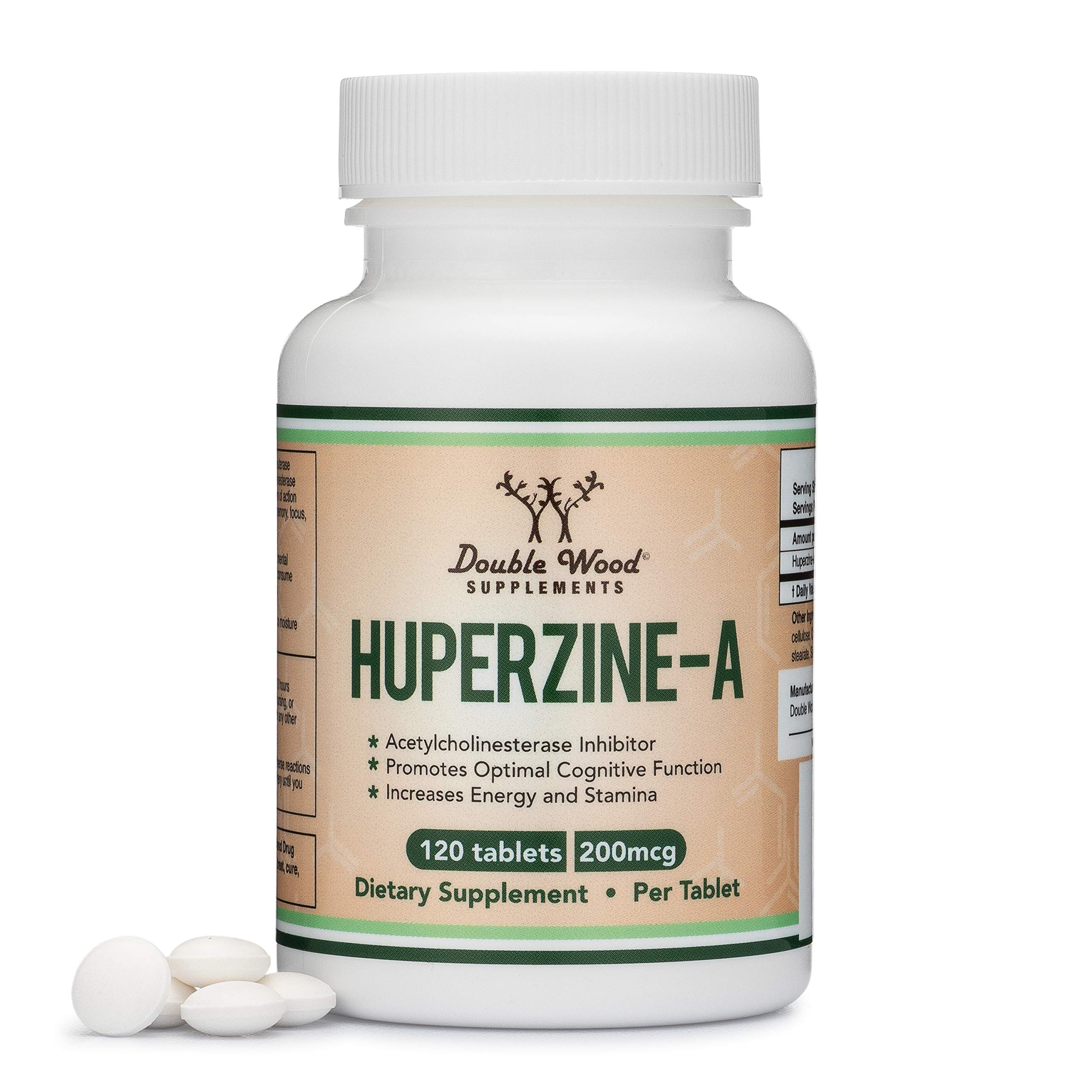 Huperzine A 200mcg (Third Party Tested) Made in The USA, 120 Tablets, Nootropics Brain Supplement to Boost Acetylcholine, Improve Memory and Focus by Double Wood Supplements by Double Wood Supplements (Image #1)