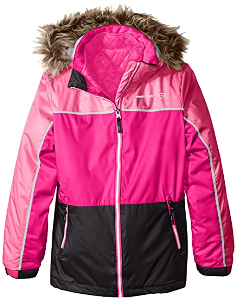 Free Country Big Girls' Systems Coat with Quilted Puffer, Black/Outdoor Pink, Large/14