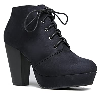 Amazon.com  Lace up Platform Stacked Chunky Heel Bootie - Pull on