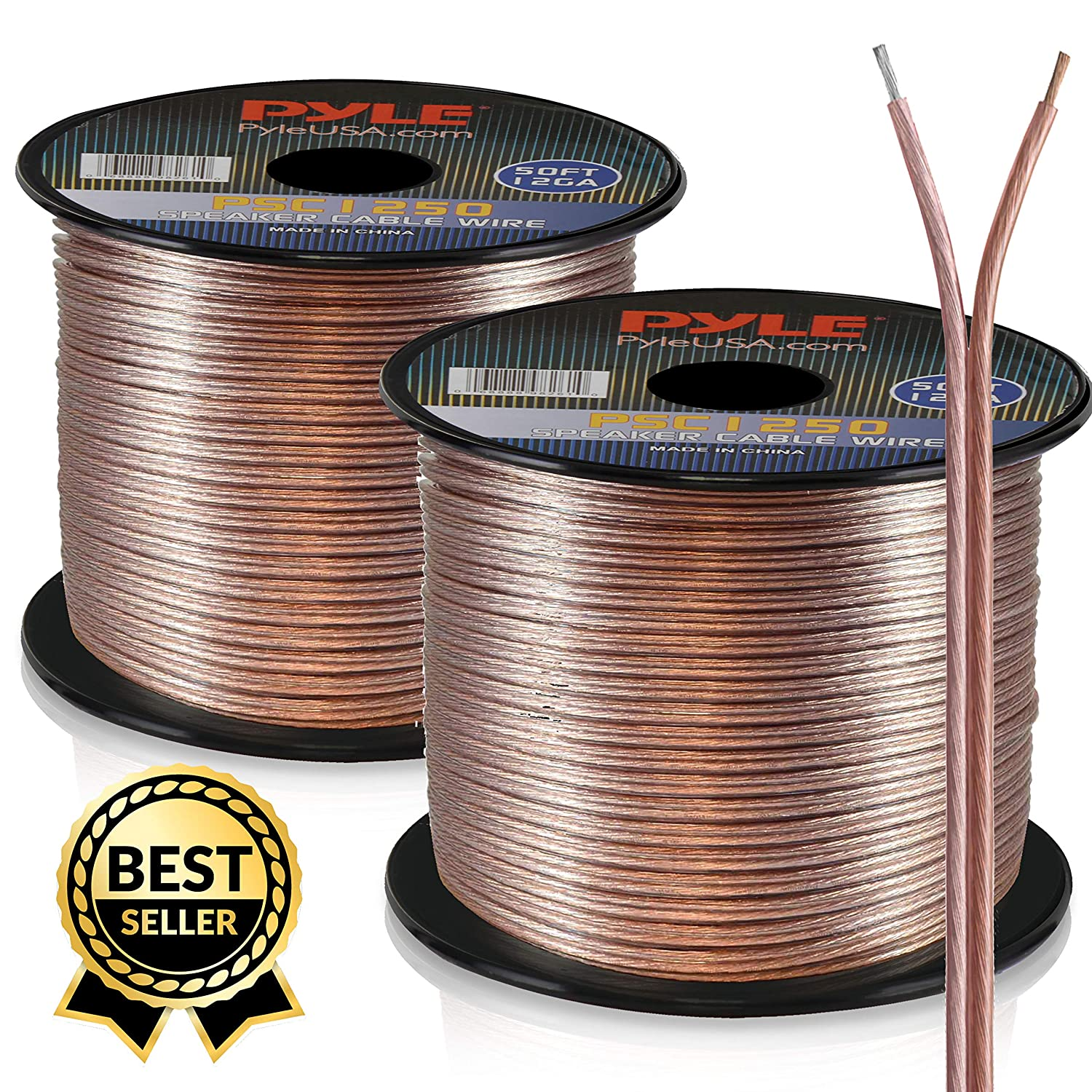 50ft 12 Gauge Speaker Wire - Copper Cable in Spool for Connecting Audio Wiring Surround Sound on