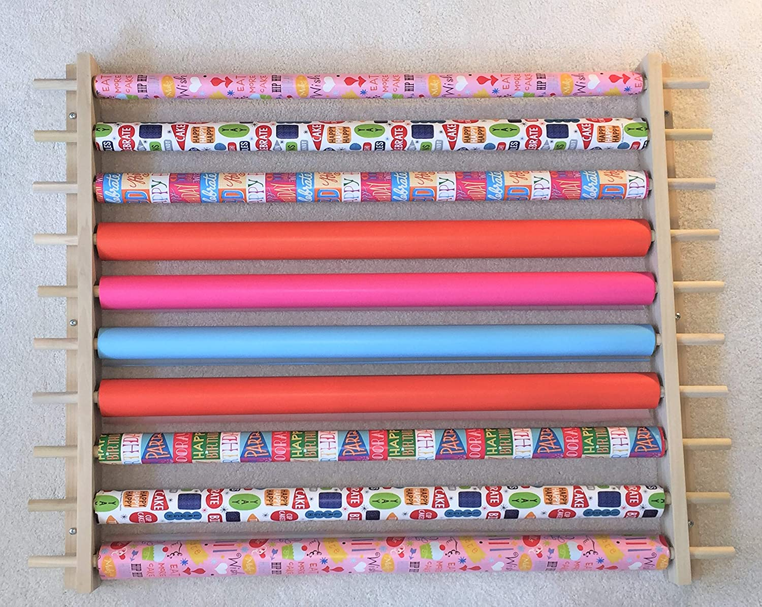 Dispensing Rack for Gift Wrapping Paper Cellophane /& Other Crafts or Wrap Items on a Roll Adjustable Width Easy Wall Mount Hardware Included. Storage Station Organizer Holds 10 Rows Ribbons