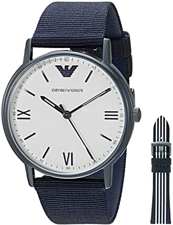 ded7d1ba82 Emporio Armani Men's Stainless Steel Japanese-Quartz Watch with Nylon  Strap, Blue, 22 (Model: AR80005)