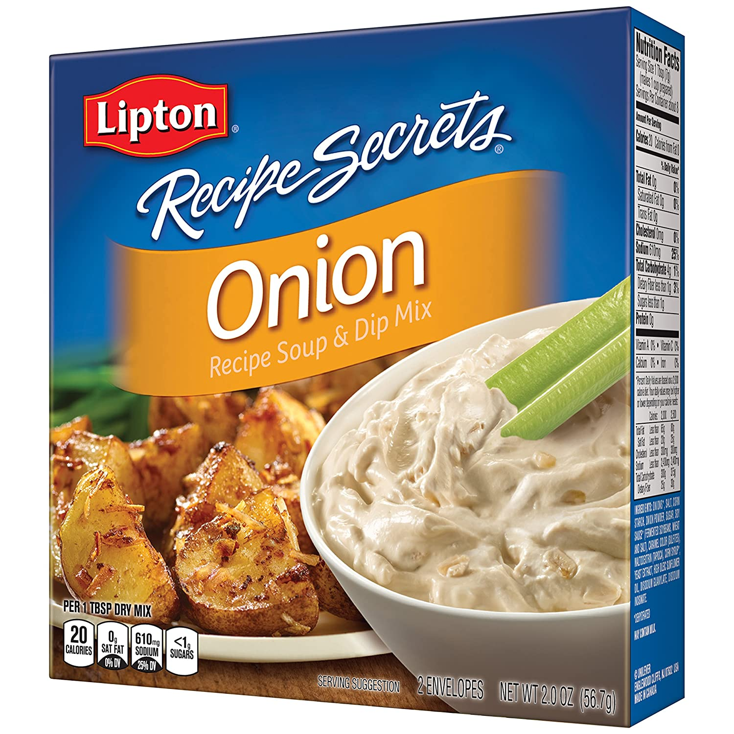 Lipton Recipe Secrets Recipe Soup & Dip Mix Onion is a tasty onion broth that can be used as a soup, and is great for dip, burgers, meatloaf, roasted potatoes, and many more family favorite recipes. It's perfect for making our crowd pleasing Classic Onion Dip. Lipton Recipe Secrets Onion (2 oz) is a Soup & Dip Mix with a classic Onion flavor.