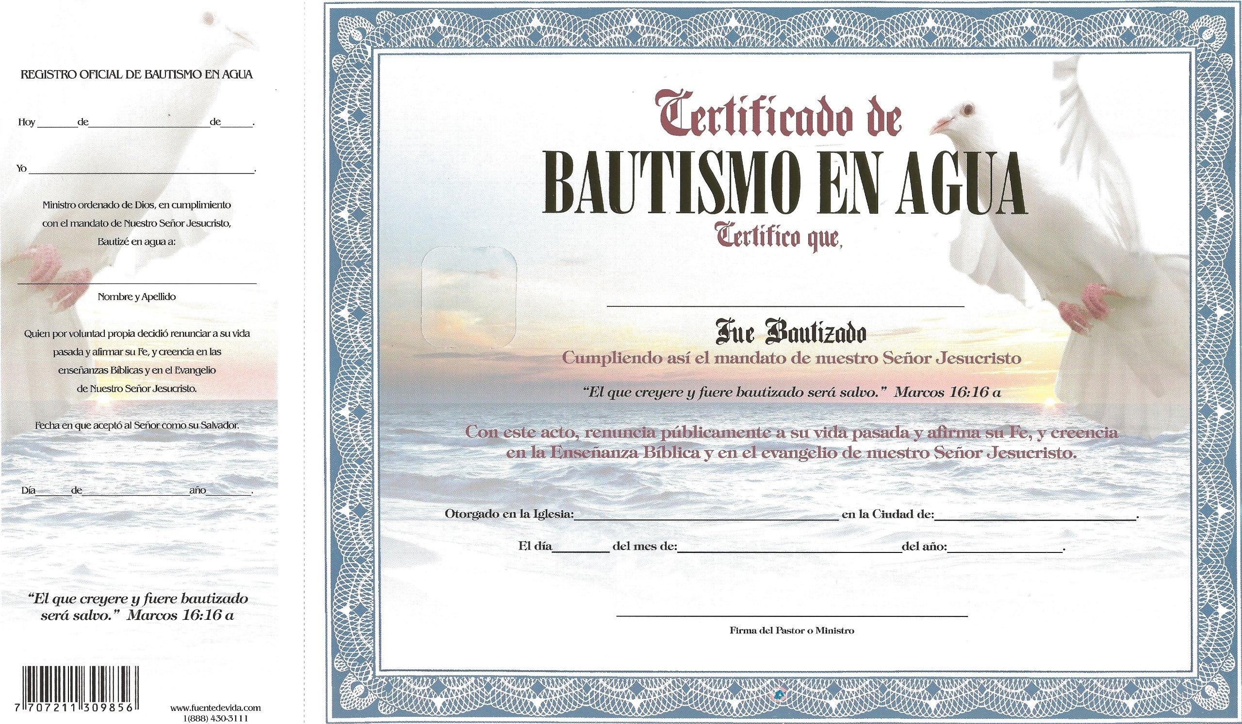 Certificado de Bautismo en Agua Azul Paloma (Spanish) Loose Leaf – 2013