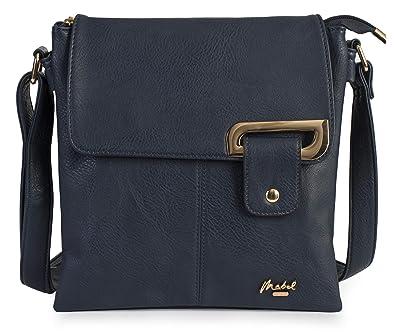 6bab7742ec47 Mabel Womens Messenger Cross-Body Shoulder Bag With Gold Trim ...
