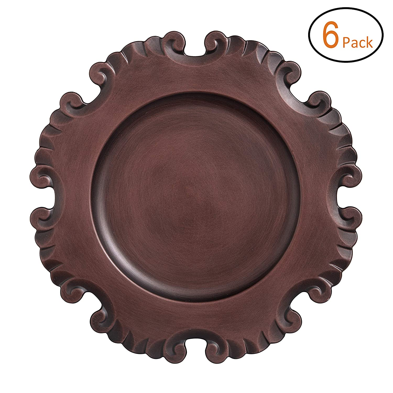 FANTASTIC :) Round 13 Inch Plastic Charger Plates With Antique brushed Finsh (6, Beaded)