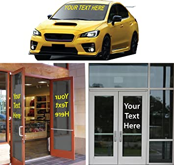 """16/"""" High by Up to 132/"""" Long Window Text Sign Decal CUSTOM VINYL LETTERING"""