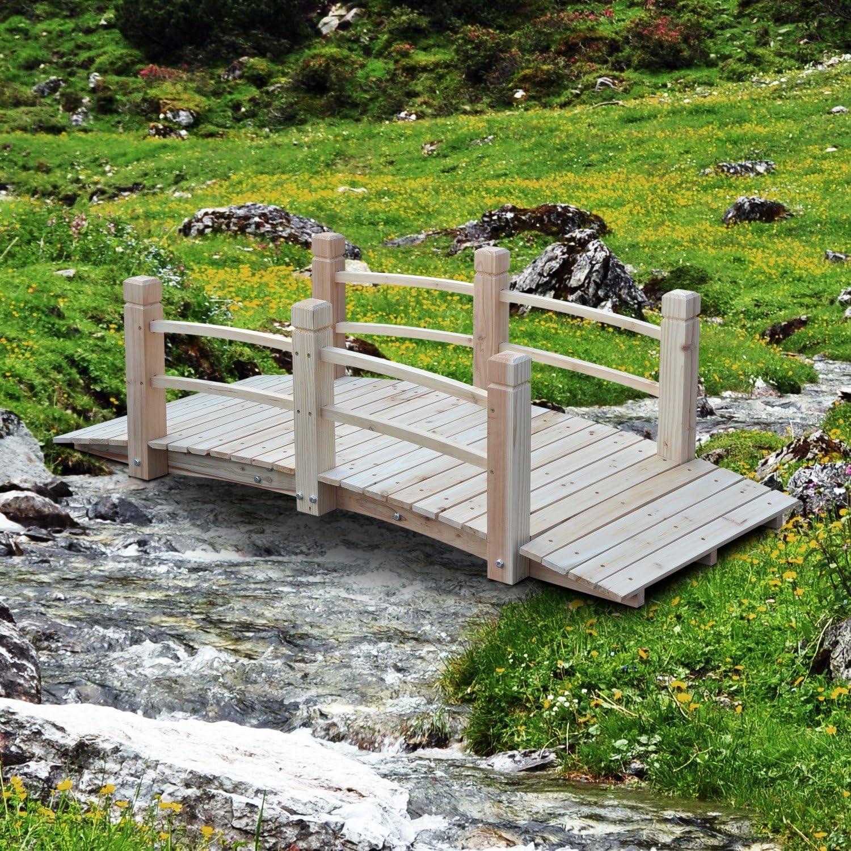 Outsunny – 5 de madera jardín puente – decorativo Zen madera jardín Kit de puentes: Amazon.es: Jardín