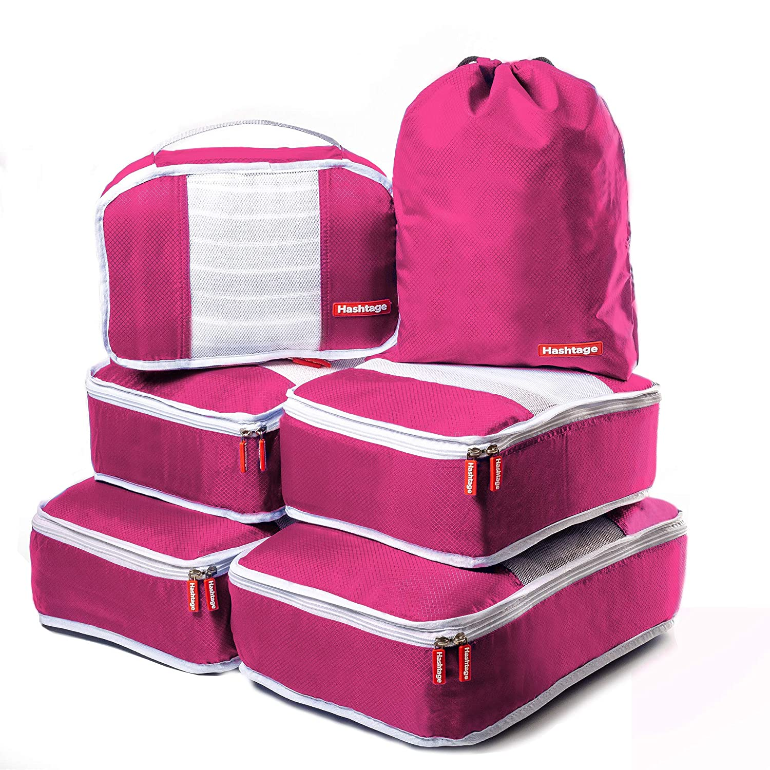 6 Set Packing Bags Hashtage/® Packing Cubes Red Packing Cube for Travel Lightweight Packing Cases Packing Organiser for Luggage