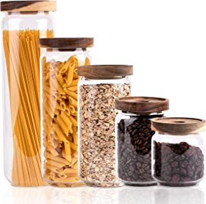Ökohome Glass Storage Containers – Food Canisters with Acacia Wood Lids for Pantry – Big and Small Stackable Kitchen Jars – Kitchen Glass Containers for Tea, Coffee, Spaghetti and Candy (Set of 5 - 450mL(15oz) - 650mL(22oz) - 950mL(32oz) - 1150mL(39oz) - 1500mL(51oz))