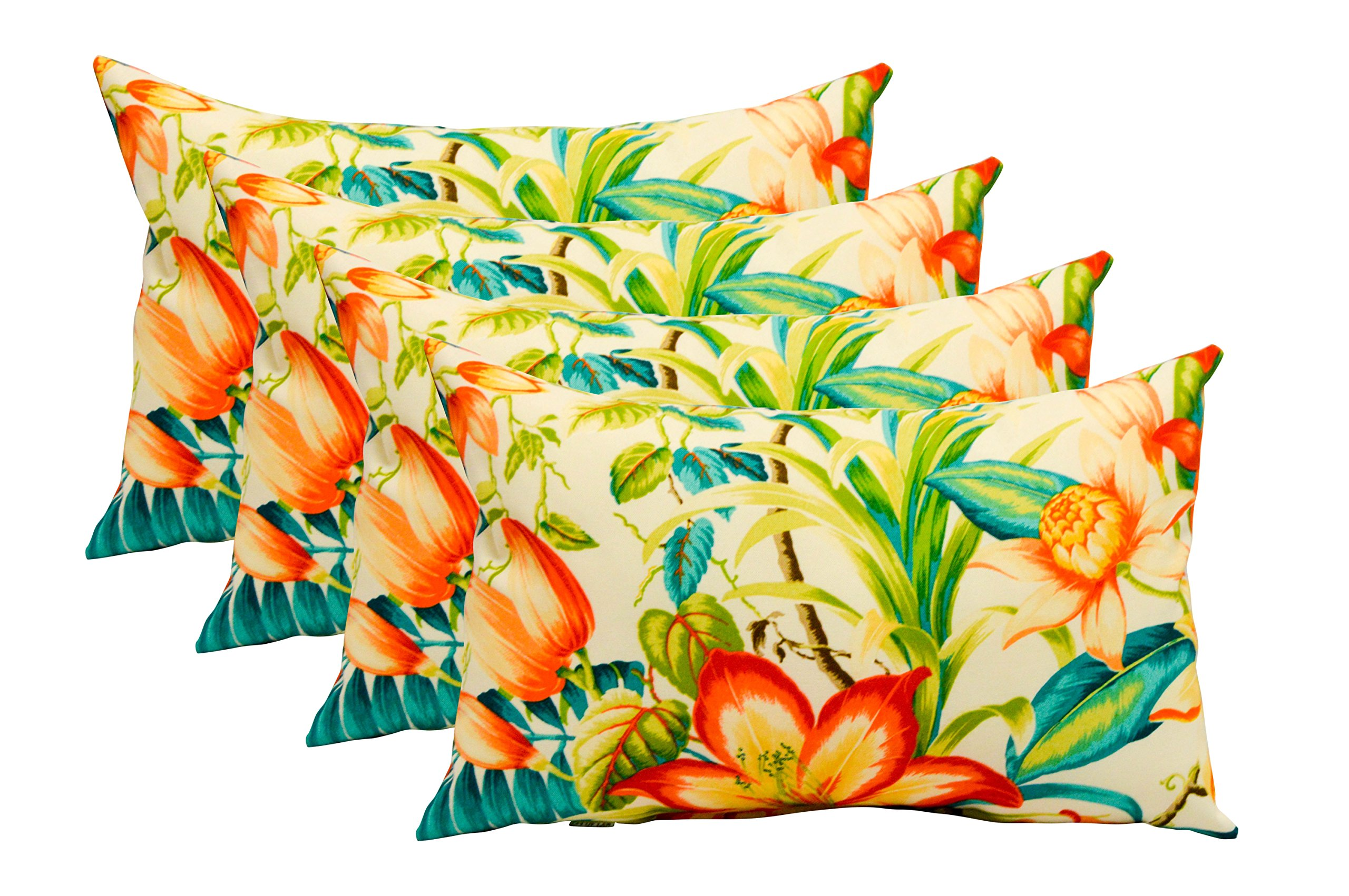 Set of 4 Indoor / Outdoor Decorative Lumbar / Rectangle Pillows - Made with Tommy Bahama Original Home Fabric - Botanical Glow Tiger Lily Orange Teal Tropical Floral