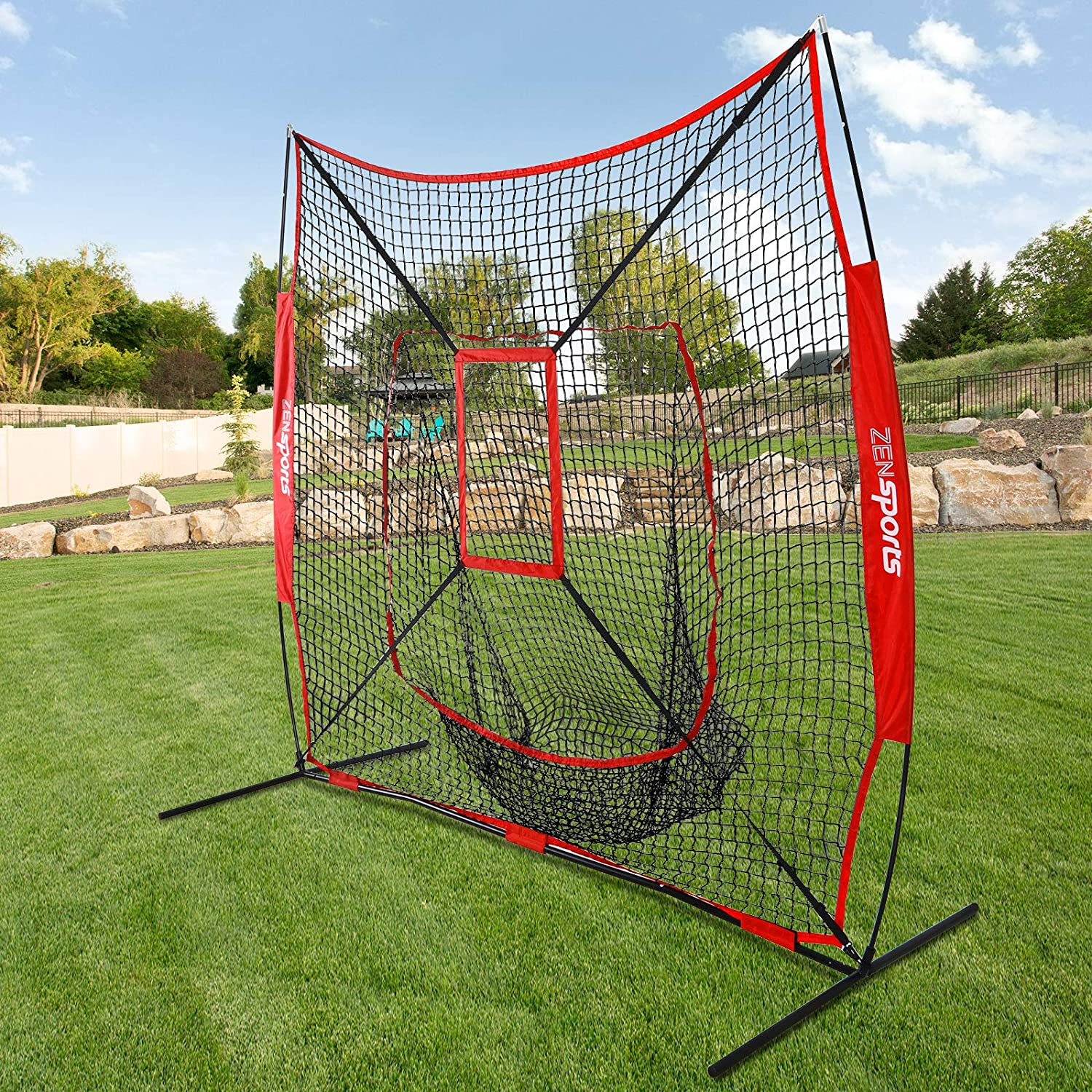 ZENsports 7 x 7 Baseball Softball Practice Hitting Pitching Net with Strike Zone Target and Bow Net Frame Carry Bag,Batting Pitching Softball Tee