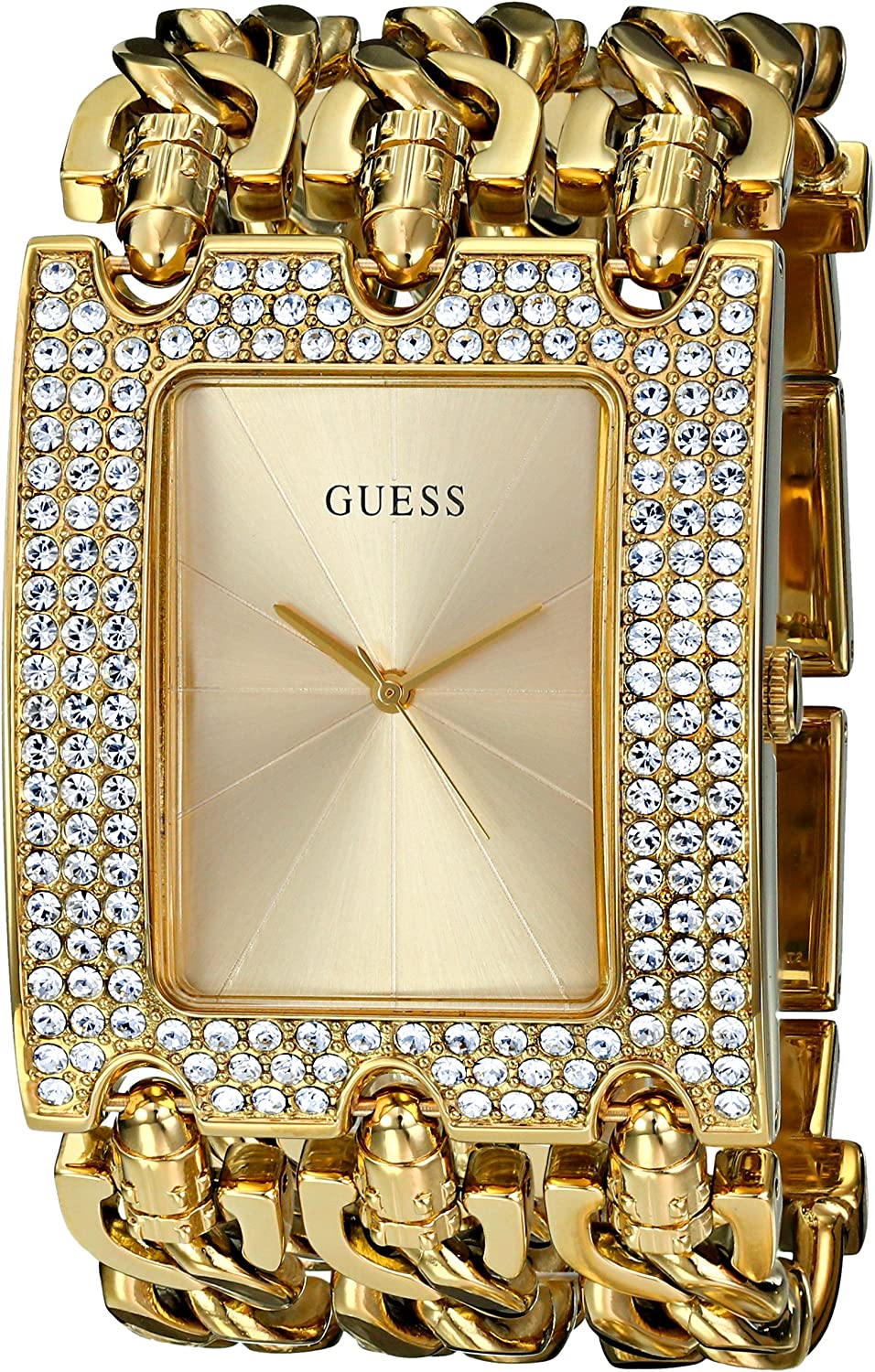 GUESS Gold-Tone Glitz Chain-Link Watch
