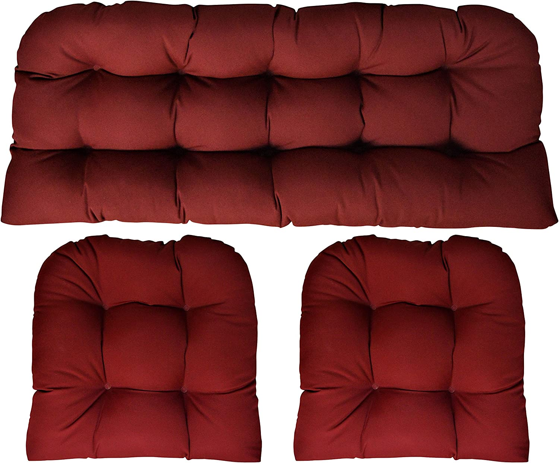 Amazon Com Rsh Decor Sunbrella Canvas Burgundy 3 Piece Wicker Cushion Set 41 Long X 19 Deep Loveseat Cushion And 19 X 19 Chair Cushion Indoor Outdoor Wicker Loveseat Settee
