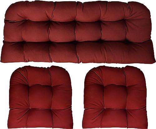 RSH DECOR Sunbrella Canvas Burgundy 3 Piece Wicker Cushion Set 41 Long X 19 deep loveseat Cushion and 19 x 19 Chair Cushion – Indoor Outdoor Wicker Loveseat Settee 2 Matching Chair Cushions