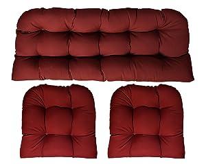 "RSH DECOR Sunbrella Canvas Burgundy 3 Piece Wicker Cushion Set (41"" Long X 19"" deep loveseat Cushion and 19"" x 19"" Chair Cushion) - Indoor/Outdoor Wicker Loveseat Settee & 2 Matching Chair Cushions"
