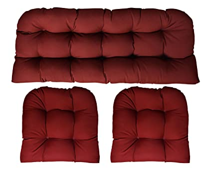 Amazon Com Sunbrella Canvas Burgundy 3 Piece Wicker Cushion Set