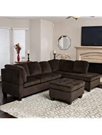 Welsh Chocolate Fabric Sectional Sofa Set