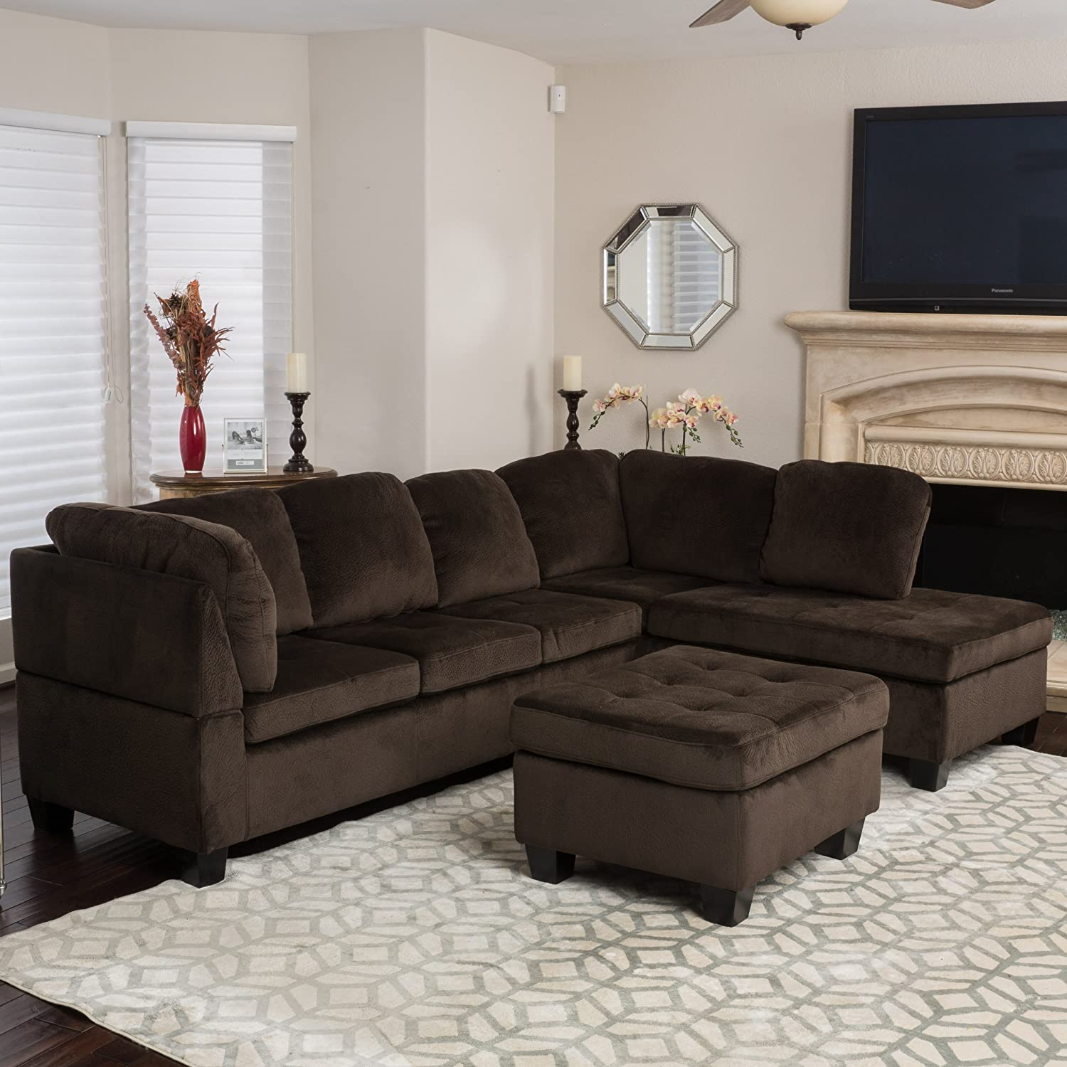 Amazon Welsh Chocolate Fabric Sectional Sofa Set Kitchen