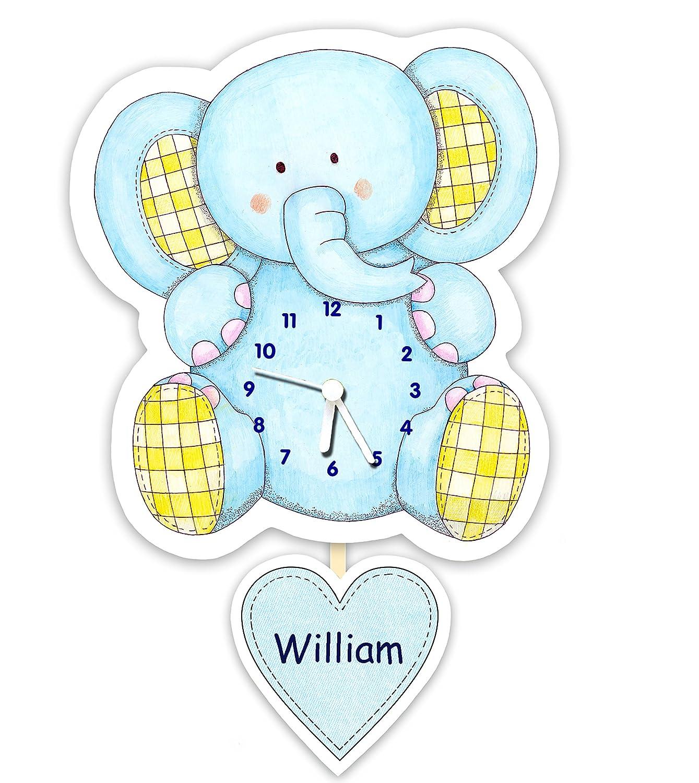Personalised baby or children's nursery / bedroom pendulum clock - Blue elephant The Marmalade Cat