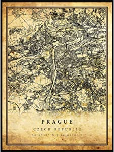 Prague map Vintage Style Poster Print | Old City Artwork Prints | Antique Style Home Decor | Czech Republic Wall Art Gift | map Old 8.5x11