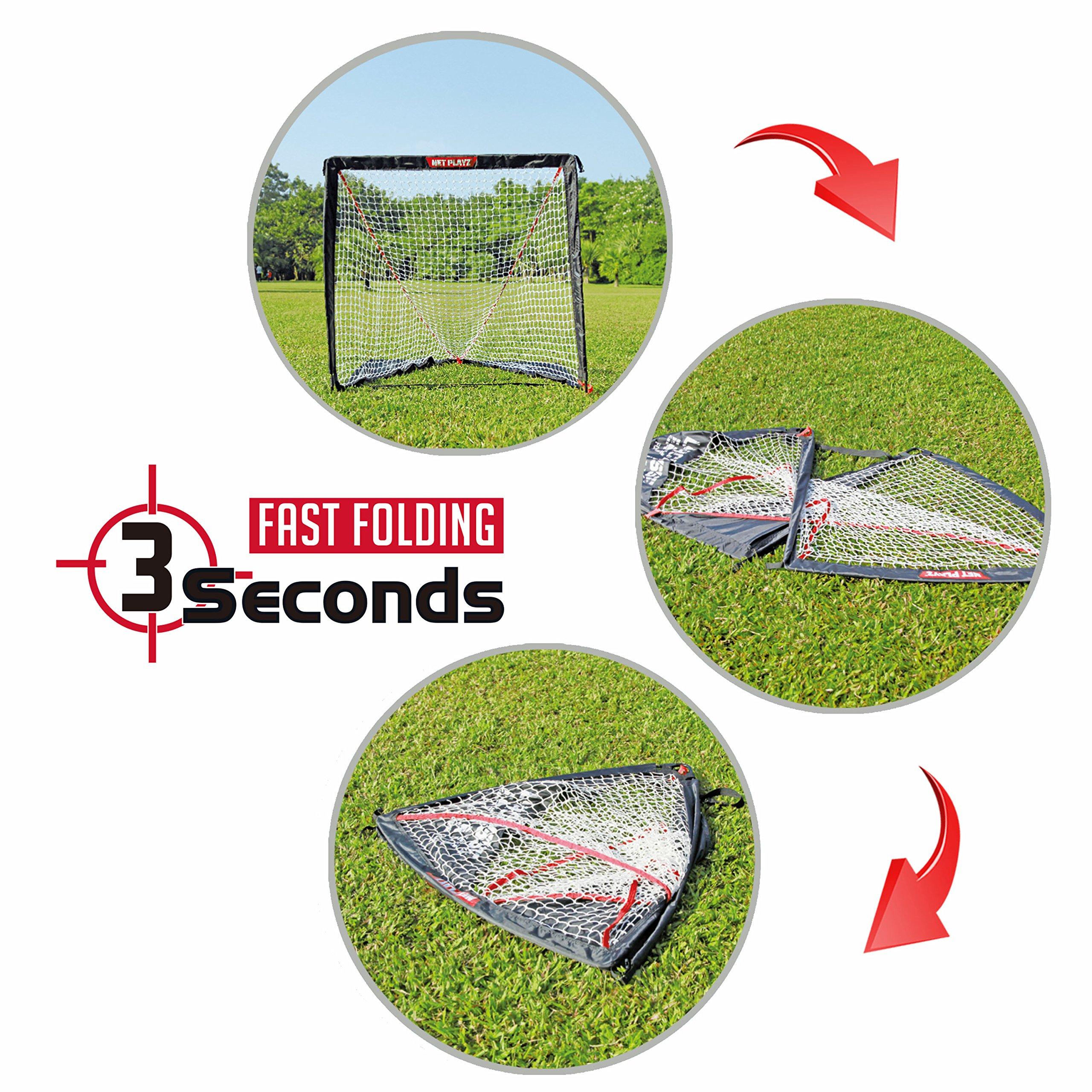 NET PLAYZ 4 x 4 x 4 Feet Lacrosse Goal Fast Install, Fiberglass Frme, Lightweight, Foldable, Portable, Carry bag Included by NET PLAYZ (Image #3)